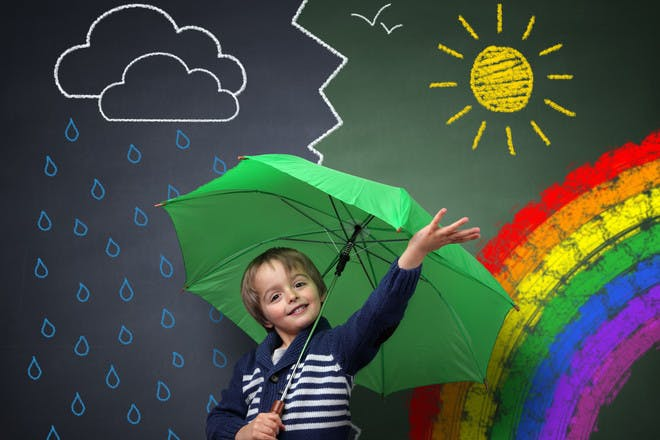 boy with green umbrella standing in front of chalkboard with different weather images drawn on it