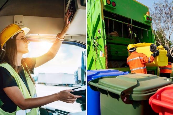 Left: Female lorry driverRight: Binmen