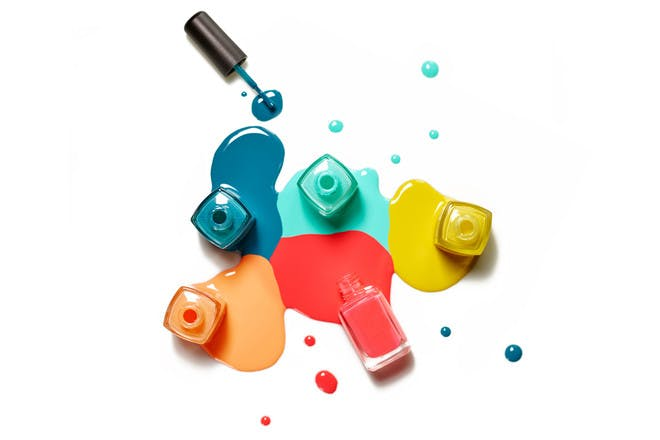 Different coloured nail polish