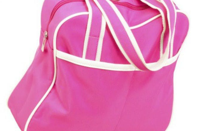 pink and white tote bag on white background
