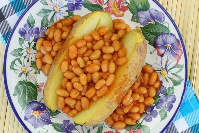 Baked potatoes with beans