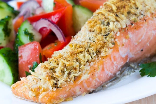 Herby salmon with salad & crushed new potatoe