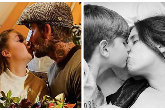 Celebrities snapped kissing their kids on the lips