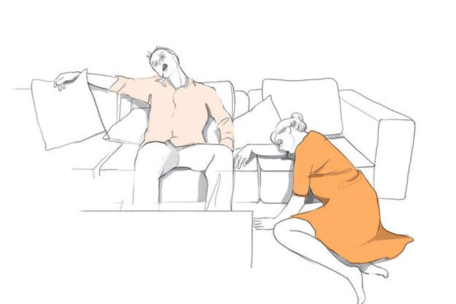 Illustration of tired parents
