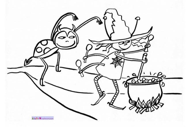 Halloween colouring page of cooking pot