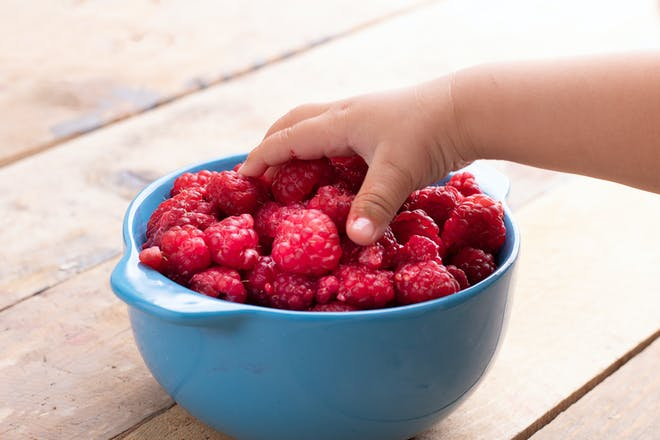 Baby's hand reaching for a bowl of raspberries