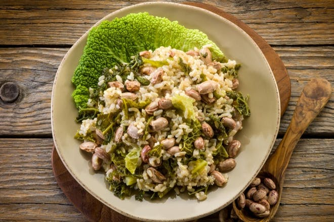Sausage and cabbage risotto