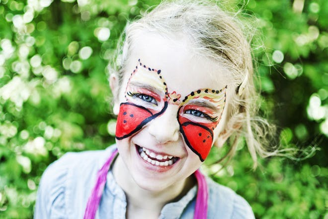 Little girl with face painted