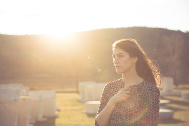 Woman in graveyard