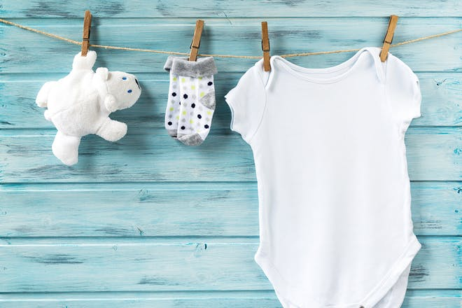 Baby onesie washing line