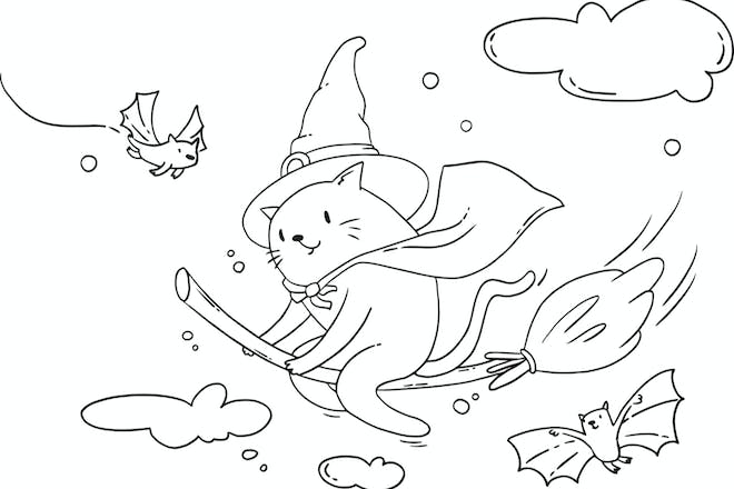 Black and white line drawing of a cat wearing a witch's hat and flying a broom. Two bats flap either side.