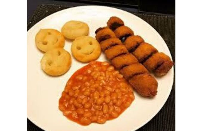turkey twizzlers, beans and smiley faces