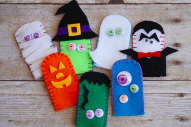 Halloween themed finger puppets