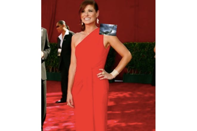 Debra Messing with a picture of the Loch Ness monster photoshopped on her shoulder