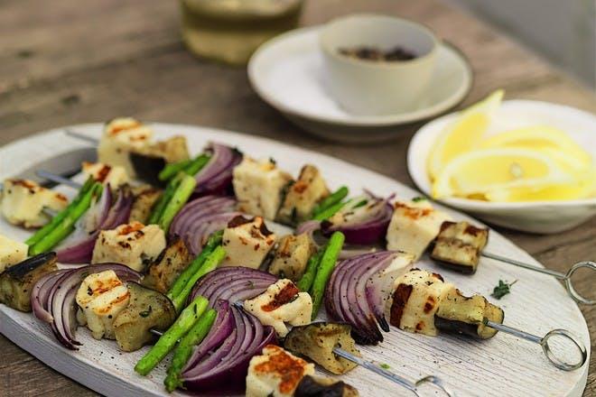 Halloumi and thyme kebabs
