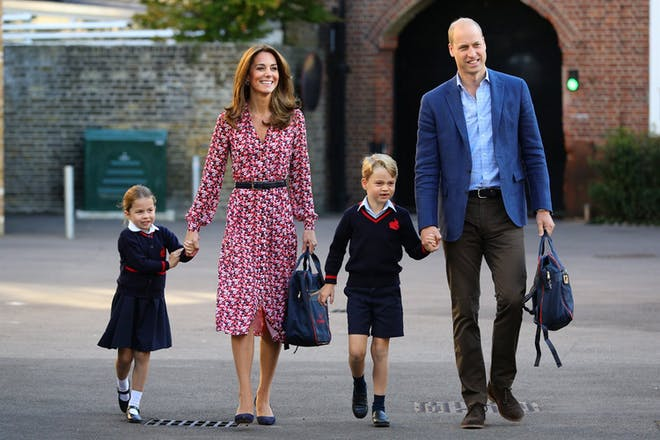 Kate and William walking Charlotte and George to school