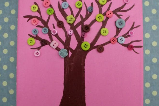 painted tree with buttons