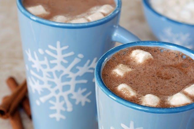 hot chocolate in blue mugs