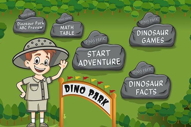 screen shot from Dinosaur park math app