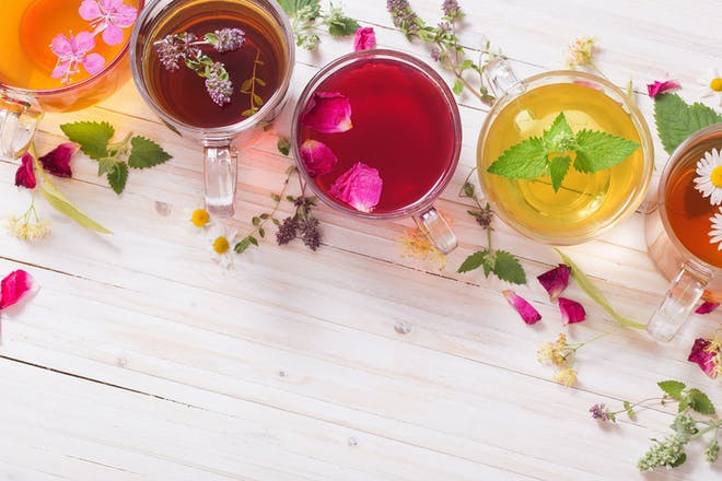 Selection of colourful herbal teas