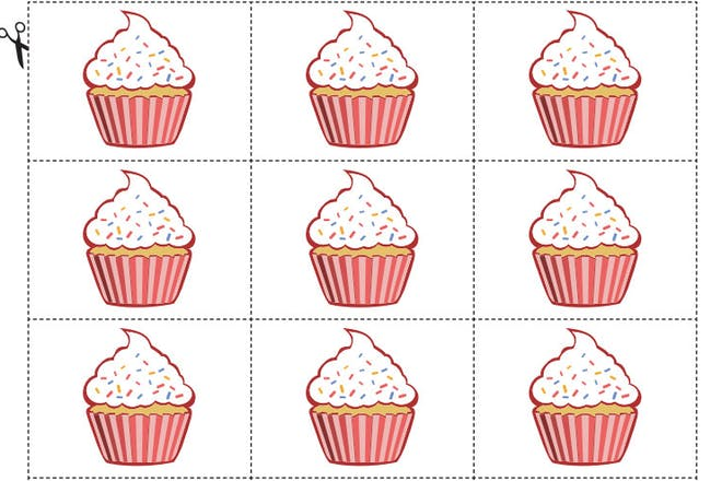 illustrated cupcakes ready to be cut out to make cards