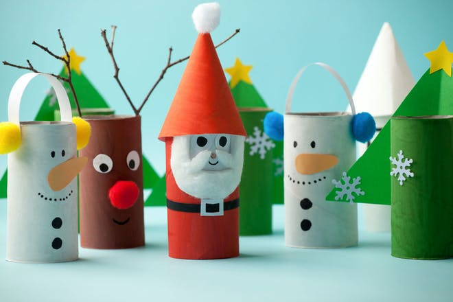 Christmas characters made out of old toilet rolls