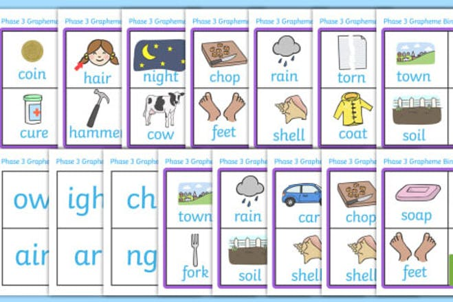 phonics cards showing pictures and graphemes