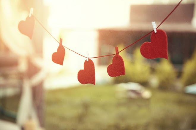 Washing line with love hearts