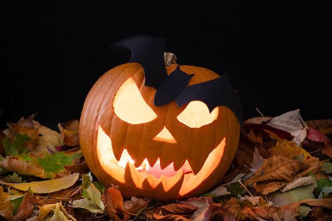 Halloween pumpkin with spooky face