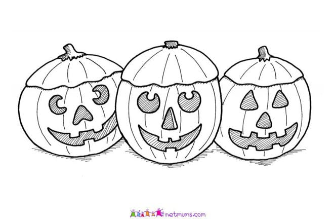 Halloween colouring page of three pumpkins