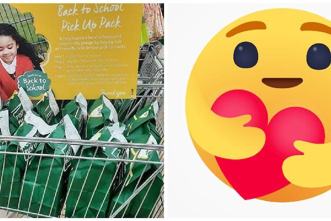Morrisons back to school packs in store / hugging emoji