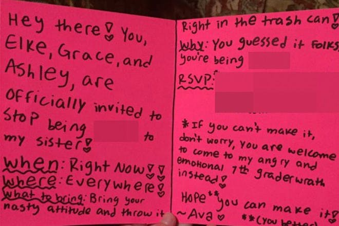 note girl gives to bullies