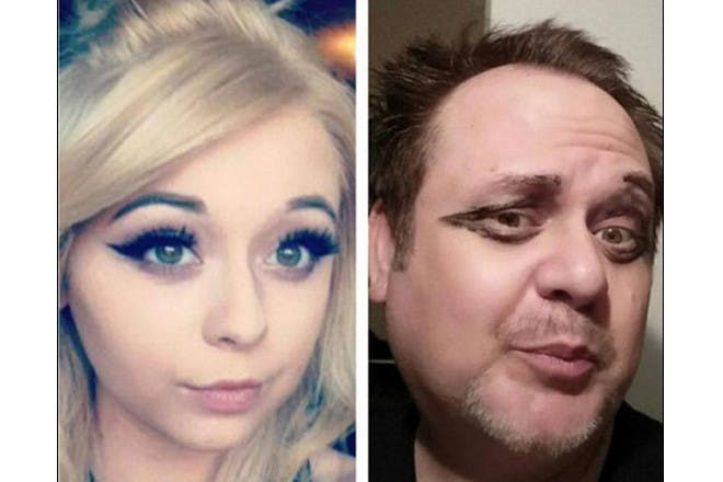 father and daughter eyeliner selfie