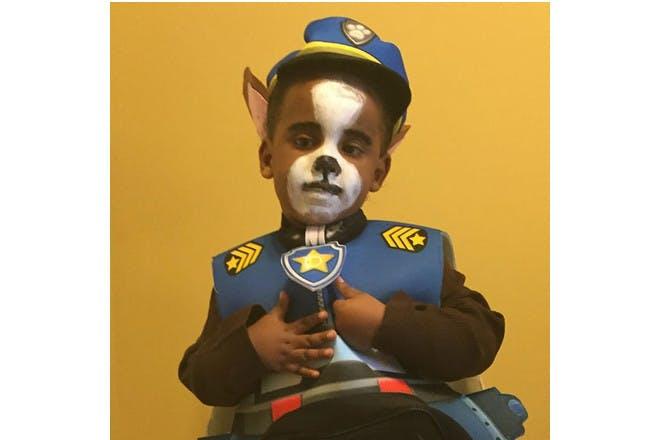 boy in paw patrol costume