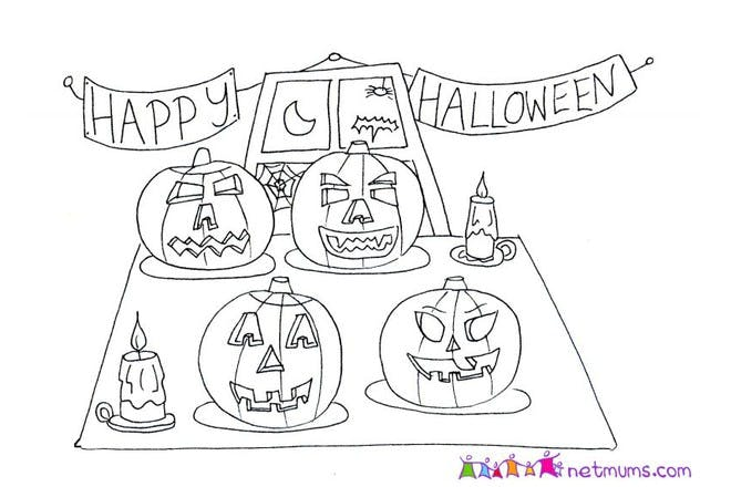 Halloween colouring page of happy halloween banner and pumpkins