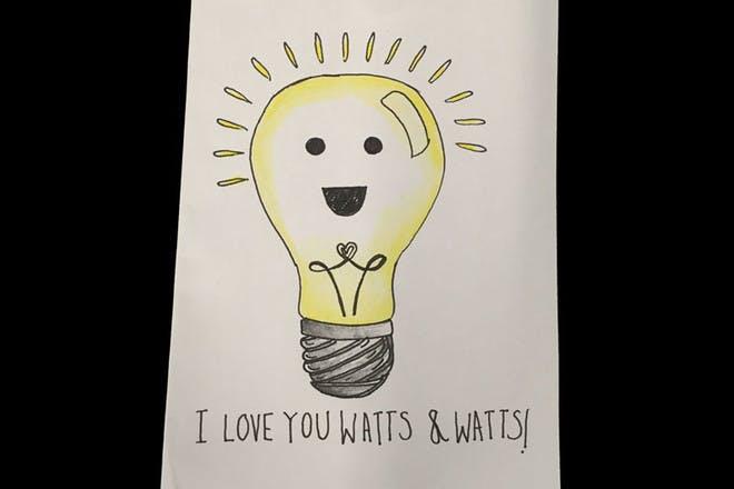 lightbulb Valentine's card
