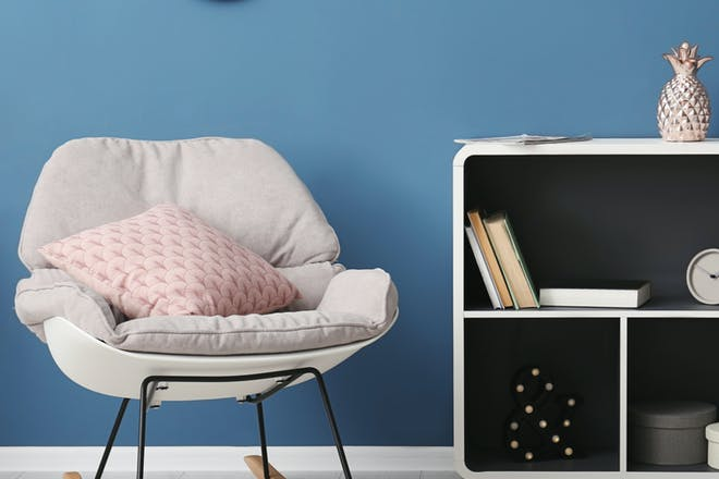 Cosy/stylish rocking chair and shelves