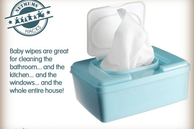 blue box of baby wipes