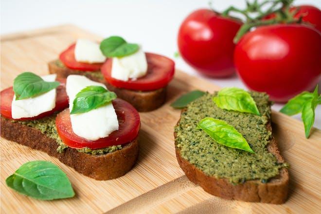 Mozzarella, tomato and pesto sandwich