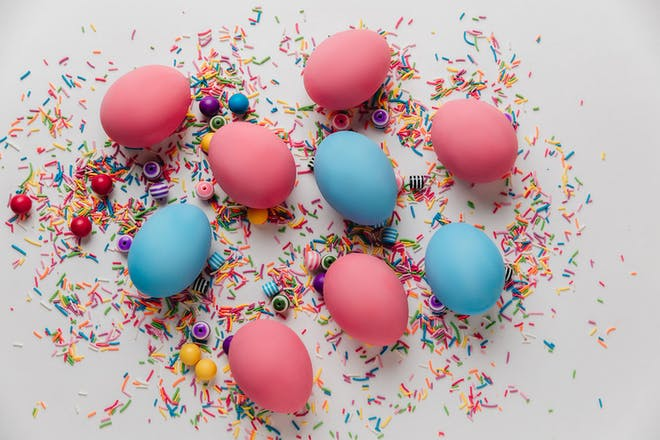 Blue and pink eggs