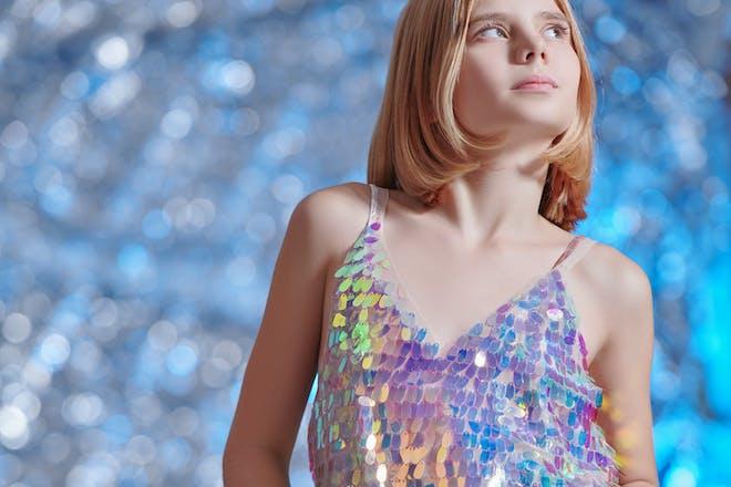 Girl wearing sequin top