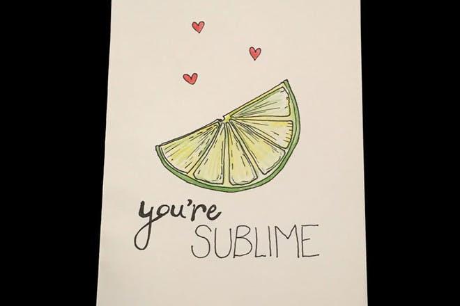 lime Valentine's card