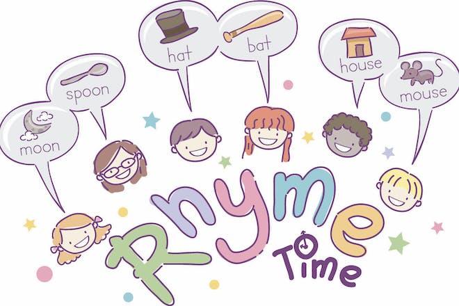 Illustration of school children saying rhyming words