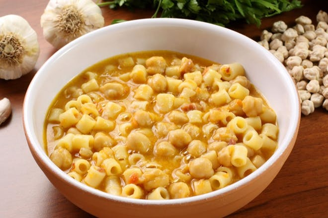bowl of pasta with chickpeas