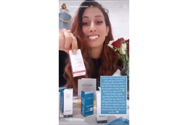 Still from Stacey Solomon Instagram stories showing beauty samples