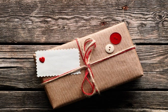 brown paper and button wrapping