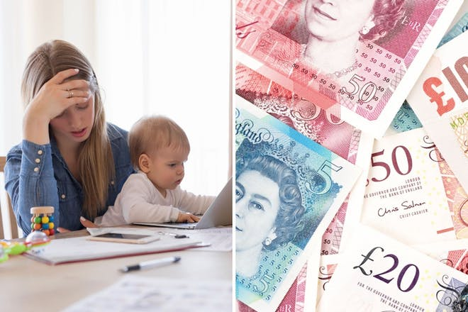 left: stressed woman and baby Right: bank notes