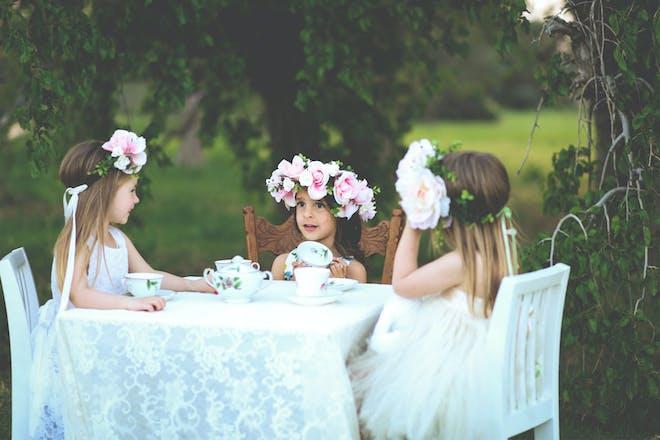 Girls enjoying a tea party