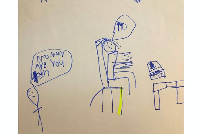 Child's drawing of mum working