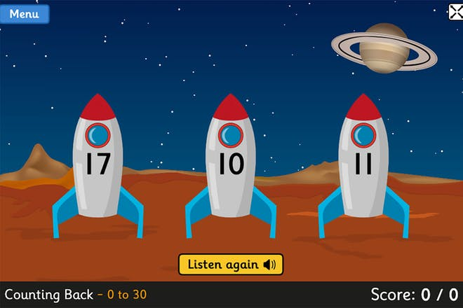 Blast off game screen, three rockets with numbers on them sit on a planet